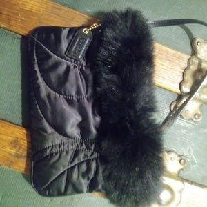 Coach rabbit fur wristlet